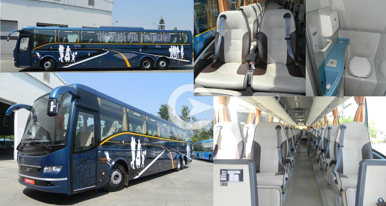 53+ washroom Multi Axle Volvo Luxury Bus  hire in Delhi